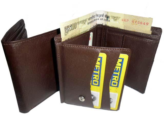Genuine Leather Men's Wallet-686-b069-brown
