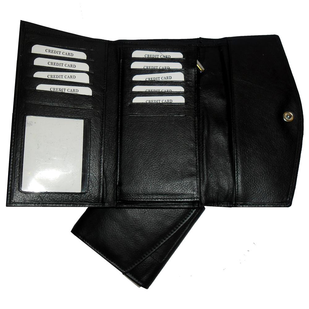 Genuine Leather Women's Trifold Wallet-616-b092-black