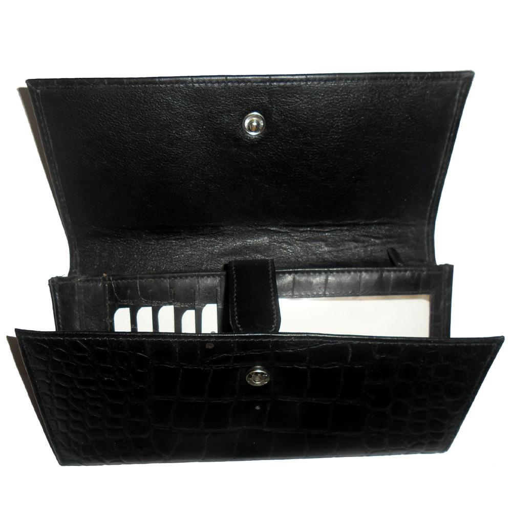 Genuine Leather Croc Finish Women's Wallet-636-b090-black