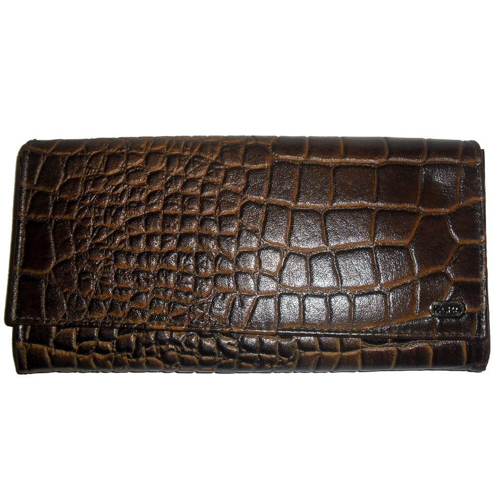 Genuine Leather Croc Finish Women's Wallet-636-b090-brown