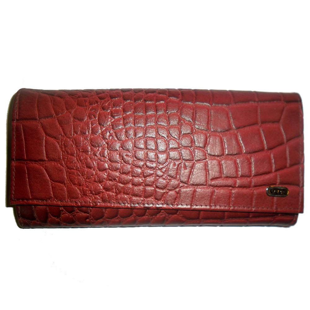 Genuine Leather Croc Finish Women's Wallet-636=b090-bordo