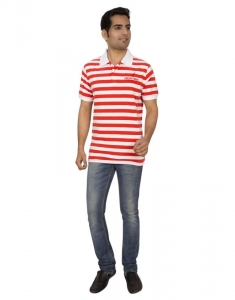 Red Line Striper Soft Sueded Cotton Casual Polo T-Shirt - RLMSP-F14-004