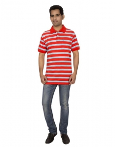 Red Line Striper Soft Sueded Cotton Casual Polo T-Shirt - RLMSP-F14-005