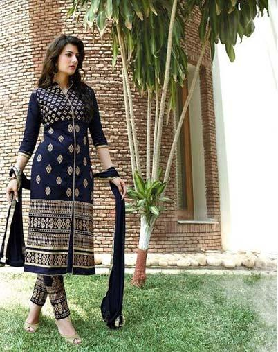 Aashvi Creation Cotton Embroidered Salwar Suit Dupatta Material