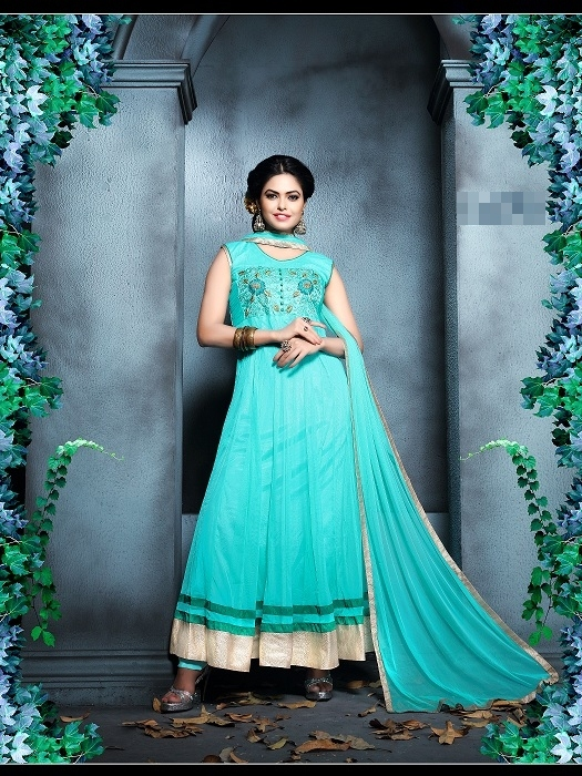 New Designer Sky Blue Anarkali Suit
