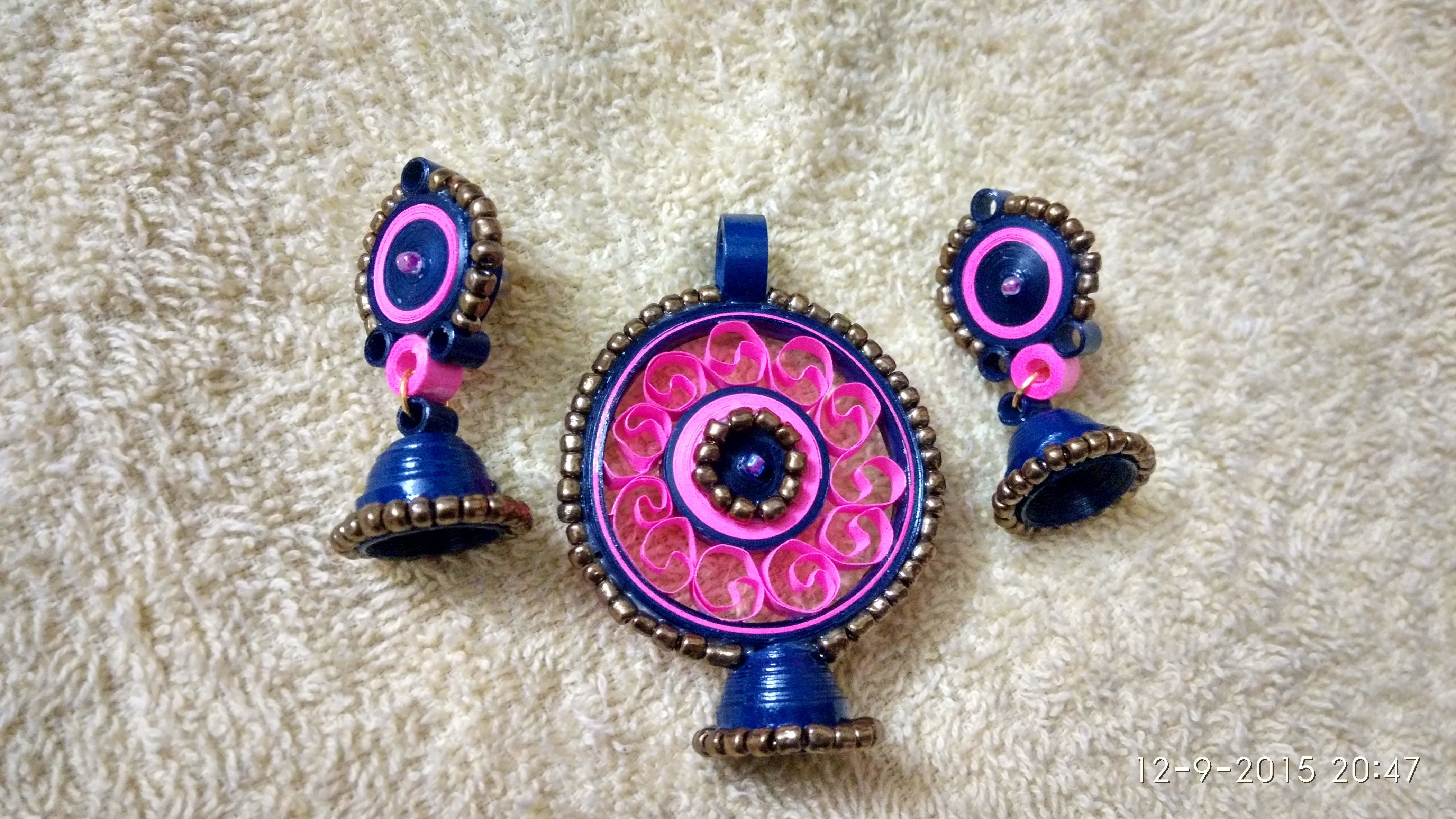Pink and Blue earring pendant set