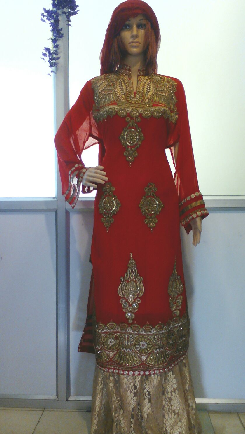 red georgette with golden plazzo