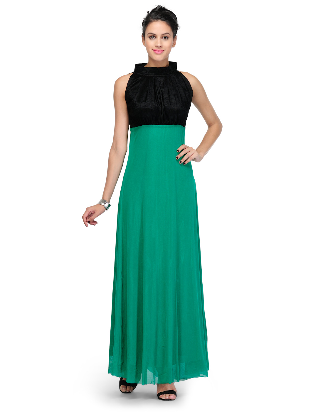 Western wear green net dress