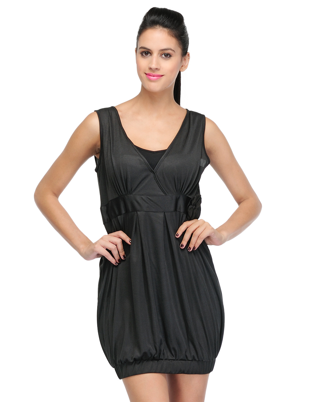 Western wear black viscose dress