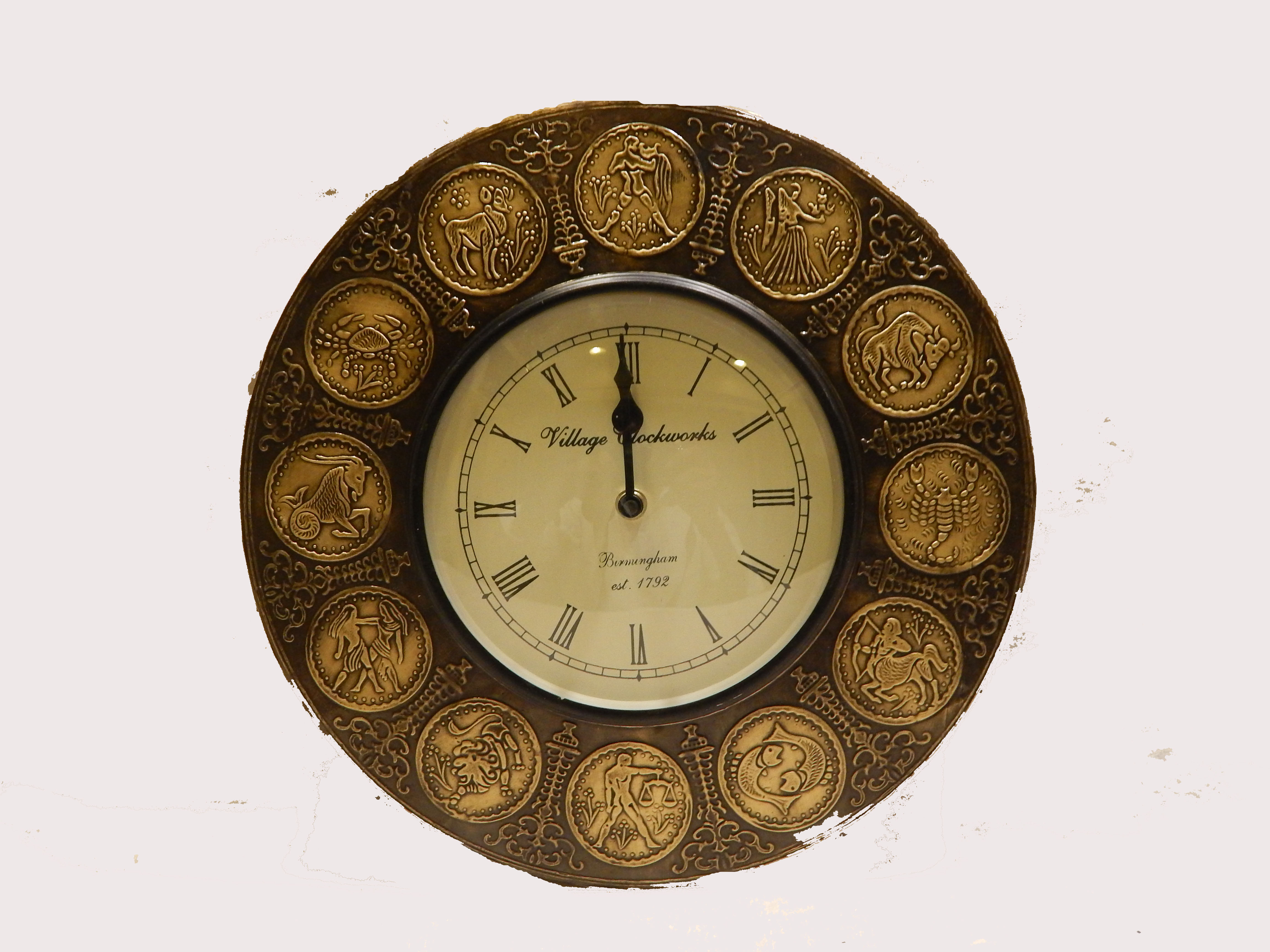 Round Wooden Wall Clock  with brass finish