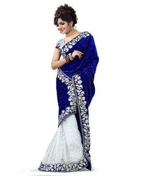 velvet saree blue and white colour