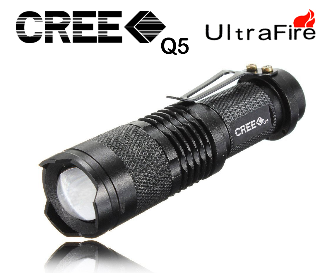 Gadget Hero's Pocket LED Mini CREE XR-E Q5 UltraFire Flashlight Torch Adjustable Zoom Beam. 3 Flash Mode. 7W, 400 Lumens.