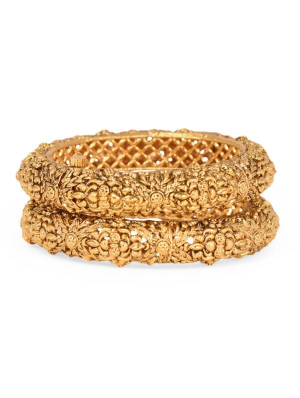 Aradhyaa Jewel Arts-ARR190-22crt Gold Plated Kundan Stone emblished jadau openable kada