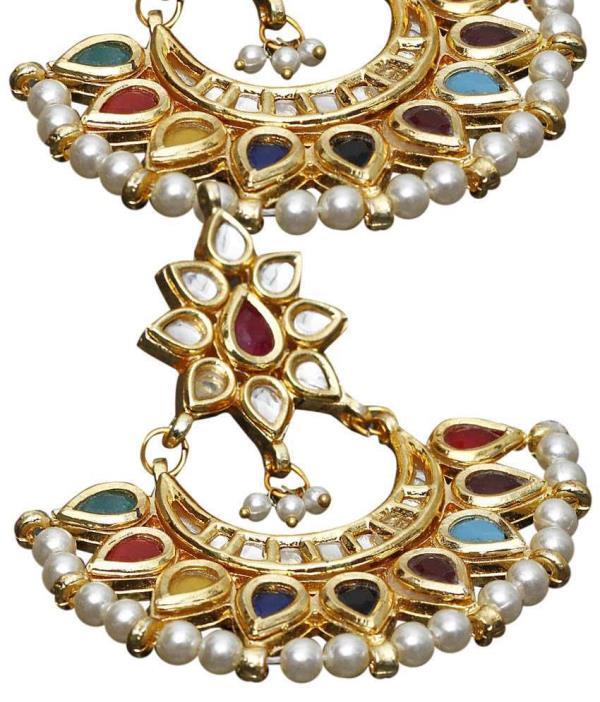 Aradhyaa Jewel Arts-Arjea300-22crt Gold Plated Kundan Stone emblished earring
