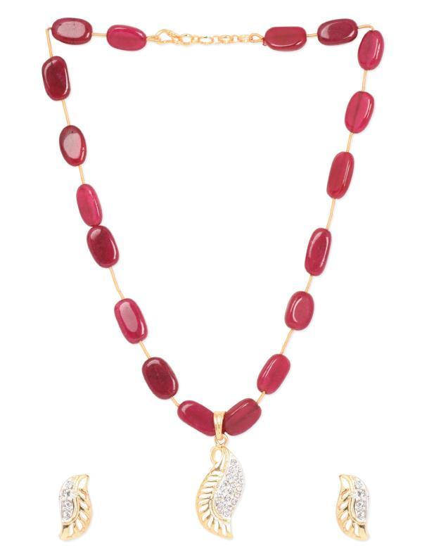Aradhyaa Jewel Arts-Arl107-Gold Plated Ruby emblished pendent set