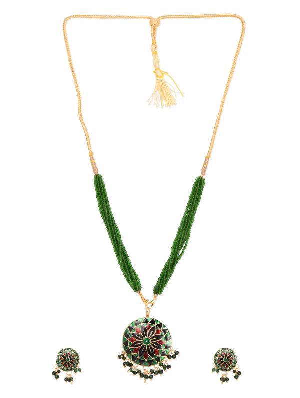 Aradhyaa Jewel Arts-arl178-Green MEena Set