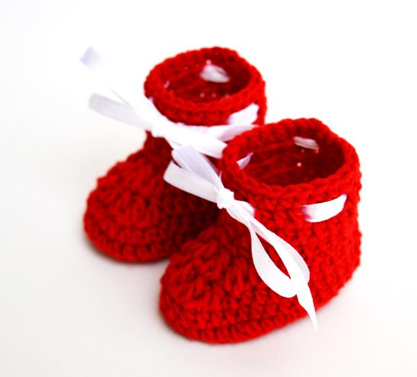 Love Crochet Art Crochet Baby Booties Red for Infant (0 - 6 Months)