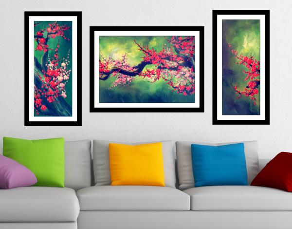 Flower (3 Pieces) (home decor) sparkle Print with Attractive molding framing