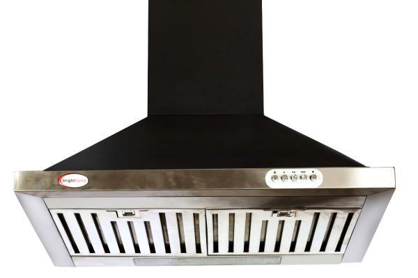 Brightflame Kitchen Chimney Lotus MS - Stainless Steel  Black  1100M3/Hr. 60 CM